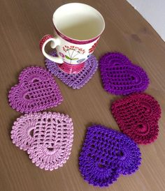 A set of 6 handmade crochet coasters purple hearts/ensemble Scrap Yarn Crochet, Crochet Dollies, Diy Crochet, Crochet Crafts, Hand Crochet, Crochet Projects, Crochet Coaster, Crochet Mandala Pattern, Crochet Squares