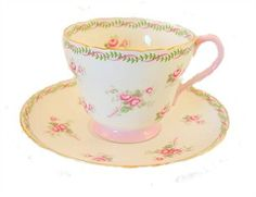Shelley pink rose teacup and saucer.