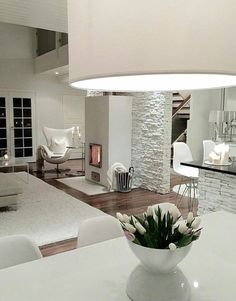 White brick walls - Photo by: . Home Living Room, Interior Design Living Room, Living Room Designs, Living Room Decor, Interior Decorating, Deco Design, Design Case, White Brick Walls, House Rooms
