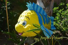 Yellow And Blue Flounder HandMade Custom Pinata Little Mermaid birthday decoration Flounder Pinata
