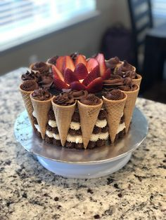 Planning for a beautiful cake design? Well, find the inspiration for your next cake decoration ideas from here and turn Beautiful Cake Designs, Beautiful Cakes, Amazing Cakes, Cake Decorating Amazing, Decorating Ideas, Chocolate Cake Designs, Ice Cream Cone Cake, Gravity Cake, Gravity Defying Cake