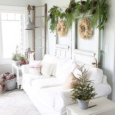 We simply adore Carleen's cozy Christmas style! Check out the #MyHomeSense garlands on the vintage doors for a fresh, festive touch.