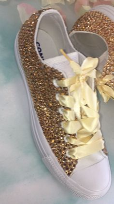 Only at Champagne gold custom crystal converse! Bedazzled Shoes, Bling Shoes, Gold Shoes, Sparkle Converse, White Converse, Bridal Shoes, Wedding Shoes, Wedding Bouquets, Shoe Makeover