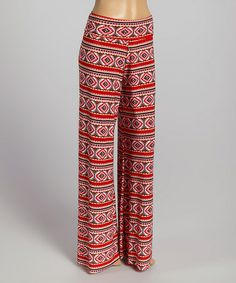 Another great find on #zulily! Red & Pink Geometric Palazzo Pants - Women #zulilyfinds