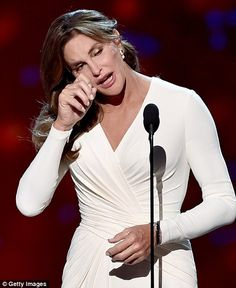 Courage award: Caitlyn Jenner tearfully thanked her family on Wednesday night while accept...
