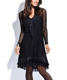 Another great find on #zulily! Black Ruffle-Hem Hi-Low Dress #zulilyfinds