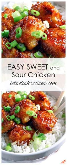 Easy Sweet and Sour Chicken: Healthier than take out, the baked sweet and sour chicken is sure to become a family favorite! #chinesefoodrecipes #chinesechickenrecipeshealthy