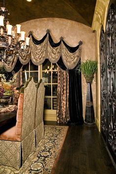 Tuscan design – Mediterranean Home Decor Dining Room Curtains, Drapes Curtains, Valances, Bedroom Curtains, Luxury Curtains, Cornices, Custom Curtains, Tuscan Design, Tuscan Style