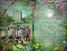 "Book of Shadows Moon:  ""April: Alder Moon,"" by Angie Latham. It makes a lovely Moon page for a Book of Shadows."