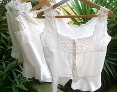 Antique Lacy Corset Tank White French Handmade Camisole Cotton Made Lace Trimmed Buttons Closure Size Small #1 Clothing for Costumes