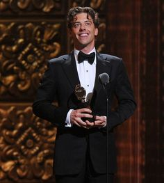 "Christian Borle accepting his Best Featured Actor Tony for ""Peter and the Starcatcher"" at the 2012 Tony Awards"