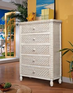 5 Drawer Chest Rattan, Wicker, 5 Drawer Chest, Weaving Patterns, Product Offering, Solid Wood, Drawers, Indoor, Bedroom
