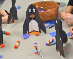 Free perky penguin art project template