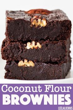 These fudgy coconut flour brownies are gluten-free, clean eating, and can be a paleo or low-carb decadent dessert. These are so delicious that you won't be missing traditional brownies. Coconut Flour Desserts, Coconut Flour Brownies, Baking With Coconut Flour, Coconut Flour Pancakes, Coconut Recipes, Bakery Recipes, Dessert Recipes, Appetizer Recipes, Cocoa Powder Recipes