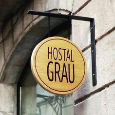 Hostal Grau sign . Designer Rosa Bramona. Green Hotel Barcelona