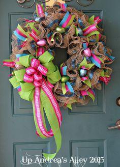 Spring Burlap Wreath Easter Wreath Spring Wreath by UpAndreasAlley