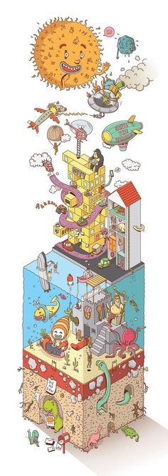 Isometric Illustration Shows an Imaginary Cross Section of Earth Malaysian illustrator 'Johnny' of BIG MOUTH studio has come up with a delightful isometric illustration featuring an imaginary cross section of the earth.