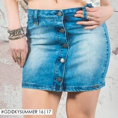 Saia de botões frontais Gdoky Jeans: Retrô, delicada e trendy! <3 #Springtime #Newcollection #Gdokyjeans
