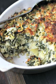 This Healthy and Easy Spinach Casserole With Artichokes & Quinoa substitutes cheese and greek yogurt for canned cream soup.