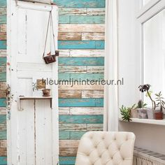 Wooden strokes turquoise behang FD22318 hout Dutch Wallcoverings