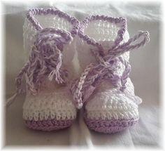 Gehaakte Zomerse Katoenen Baby Laarsjes van Titfer Designs op DaWanda.com