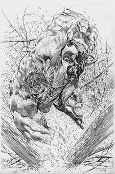 Hulk vs Wolverine - Ardian Syaf Comic Art