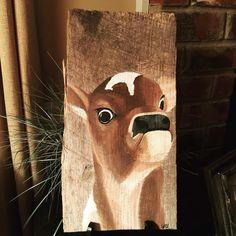 I've been dying to paint this little calf with attitude!  He's finally here!  #calf #cow #barnwood #barnart #rustic #reclaimedwood #handmadeisbetter #taterbuggin #handmade #art #decor #buyhandmade #memphis #tennessee #choose901 #homedecor #thelovelyhandmade #craftcurate #ilovememphis #creativelifehappylife #creatorcommunity #supportsmallbusiness #shopsmall #lovemymakers #shopsmalllove #handmadehomegoods #thehivehandmade #bestupcycler