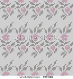Seamless pattern for knitting and embroidery cross-stitch (flowers, leaves, berries)  Flowers in the summer garden ornament. Beautiful pastel color romantic texture.  Pixel art - stock vector