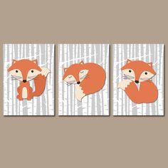 FOX Wall Art Woodland Nursery Forest Woodland Boy Bedroom Wall Art CANVAS or Prints Birch Wood Background Set of 3 Baby Boy Nursery by TRMdesign on Etsy https://www.etsy.com/listing/224362843/fox-wall-art-woodland-nursery-forest
