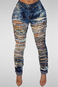 d38417297775 These are going out jeans -Roaso High Waist Metal Chain Decorative Pants