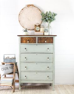 "Antique Mint Dresser - Tall Bowfront Dresser in ""Craftsman"" Green Mint Milk Paint Oak Chest of Drawers Farmhouse Furniture by TheDriftwoodHome on Etsy"
