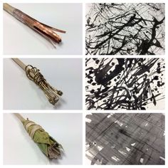 Mark making tools for Drawing II - students scavenge, assemble, experiment, and make adjustments to tools until they are satisfied. Swatches are created for reference and eventual use in combination with other drawings.