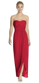 Dessy 2882 Bridesmaid Dress in Red in Chiffon