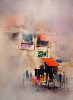 Cafe. Mixing Colors and Applying Paint - John Lovett