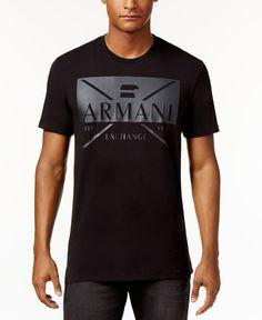 Armani Exchange Men's Graphic-Print T-Shirt - Black L Polo T Shirts, Mens Tee Shirts, Camiseta Armani Exchange, Buy T Shirts Online, Under Armour Outfits, Lacoste, Herren T Shirt, Printed Shirts, Chapo