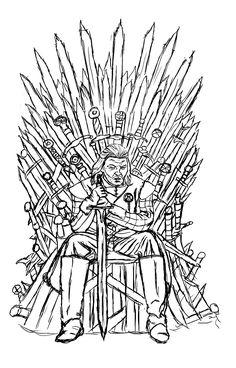 Coloriage Game Thrones Ned Stark sur le Trône de
