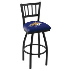 "Montana State Bobcats 25"" Black Wrinkle Swivel Bar Stool with Jailhouse Back"