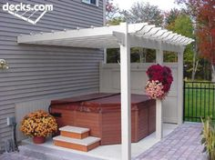 Would you like to have a beautiful pergola built in your backyard? You may have a lot of extra space available for something like this, but you'll need to focus on checking out different pergola plans before you have anything installed. Hot Tub Gazebo, Hot Tub Backyard, Backyard Patio, Backyard Landscaping, Landscaping Design, Patio Design, Hot Tub Privacy, Patio Privacy, Porches