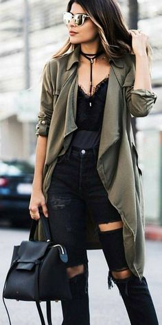 #winter #fashion /  Army Coat + Black Destroyed Skinny Jeans