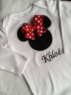 Beautiful minnie mouse shirt/onesie personalized by yunuesalazar, $19.00
