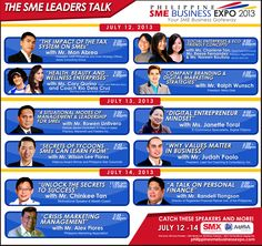 """THE PHILIPPINE SME BUSINESS EXPO – """"Your SME Business Gateway"""", the country's premier business expo to be held at the SMX Convention Center Taguig, located at the 3rd floor of SM Aura Premier, on July 12 to 14, lays down a roster of prominent personality to speak during the three-day event. - See more at: http://www.manilachannel.com/2013/07/10/phil-sme-expo-presents-sme-leaders-talk/#sthash.mwsLdmCR.dpuf"""
