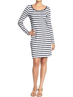 Women's Ruched Long-Sleeved Jersey Dress (Blue/White Stripe). Old Navy. $19.94