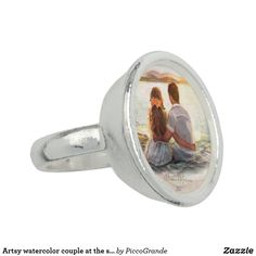 Artsy watercolor couple at the shore Romantic Ring Photo Ring, Mother Gifts, Mothers, Photo Charms, Black Felt, Silver Plate, Jewelery, Plating, Artsy