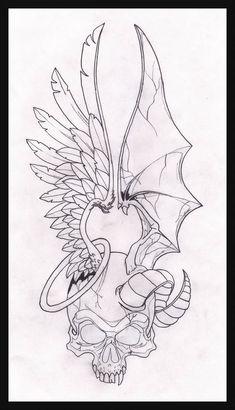 Angel and demon drawings two face angel on deviantart Skull Tattoo Design, Skull Tattoos, Body Art Tattoos, Sleeve Tattoos, Tattoo Designs, Wing Tattoos, Evil Tattoos, Animal Tattoos, Tatoos