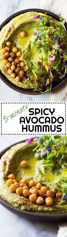 Call it what you want, Avocado Cilantro Hummus, Spicy Avocado Hummus, or 5-minute Hummus, one thing is for sure, this hummus tastes freakin' fenomenal! via @greenhealthycoo
