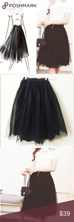 Beautiful meshed up tulle skirt-4 It's so perfectly current for 2016-2017. Nasty gal and urban outfitters have both done takes on this kind of tulle skirt, perfectly suited for any season. Super chic and pretty. Fluffy and comfy, no itchy. Elastic waist band. S: waist 24 inches can be stretched 41 inches. M: 26 inches can be stretched to 43, L: 27 can be stretched to 45 inches. XL: 28 can be stretched to 47 inches. NWOT. Three layers in total. Unbranded Skirts