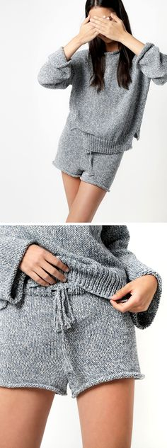 New Favorites: WATG knitted denim jammies The big news out of Wool and the Gang this week is that they've got a new yarn called Billie Jean, upcycled from the copious denim scraps of the blue jean business into an intrinsically blue …Без описания. Knitwear Fashion, Knit Fashion, Fashion Shorts, Denim Scraps, Vogue Knitting, Mode Style, Sewing Clothes, Short Outfits, Pulls