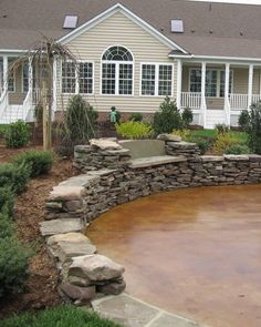 Betonterrasse Stained Concrete Patio Design Pictures Remodel Decor and Ideas How Choose The Right Ty Stone Patio Designs, Concrete Patio Designs, Concrete Patios, Concrete Floors, Concrete Bar, Outdoor Landscaping, Outdoor Gardens, Porches, Diy Patio
