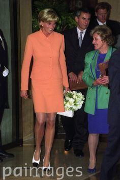 Diana, Princess of Wales leaves the Four Seasons Hotel in London where she attended a luncheon in aid of the Royal Marsden Hospital.