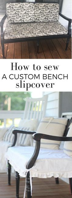 How to sew a bench slipcover to makeover an old bench farmhouse style